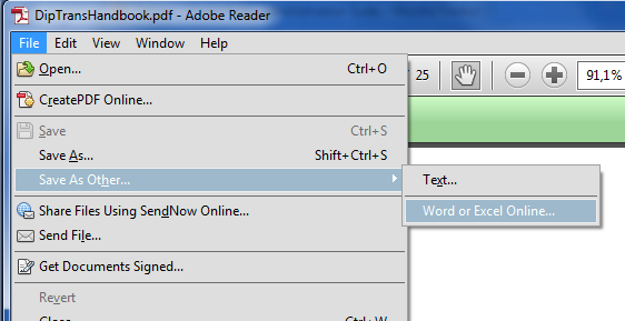 exporting from PDF to Word or Excel in Reader