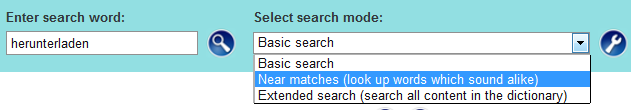 various search modes are possible