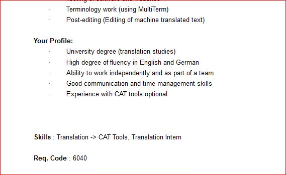 the second part of the job advert