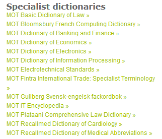 specialist dictionaries